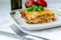 Lasagna piece of bolognese on a white plate Royalty Free Stock Images