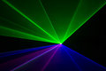 Laser beams blue green and red Stock Images