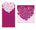 Laser cut card temlate with rose heart ornament. Cutout p