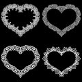 Laser cut frame in the shape of a heart with lace border. A set of the foundations for paper doily for a wedding. Vector templat