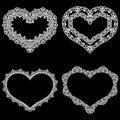 Laser cut frame in the shape of a heart with lace border. A set of the foundations for paper doily for a wedding.