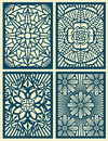 Laser cut fretwork vector pattern cards, panels Royalty Free Stock Photo