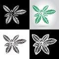 Laser cut leaf logo, cutout paper leaves icon
