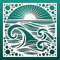 Laser cut panel, sea landscape with waves and sun. Cnc cutting stencil for wall art and home decor, room screen, hanging, Royalty Free Stock Photo