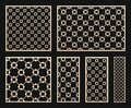 Laser cut panel set. Vector template with geometric pattern in Arabian style Royalty Free Stock Photo