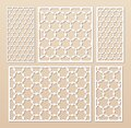 Laser cut panel set. Vector template, geometric pattern in oriental style Royalty Free Stock Photo