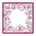 Laser cut rose square frame. Cutout pattern silhouette wi