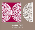 Laser cut vector card temlate with mandala ornament. Cutout circle pattern silhouette. Die cut