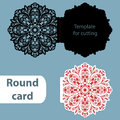 Laser cut wedding round card template, paper openwork greeting card, template