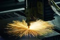 Laser cutting technology of flat sheet metal steel material proc Royalty Free Stock Photo