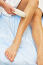 Laser epilation hair removal on ladies legs Royalty Free Stock Image