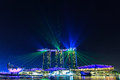 Laser light at Marina Bay Sand in night scene, Singapore Royalty Free Stock Photo