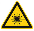 Laser radiation hazard safety danger warning text sign sticker label, high power beam icon signage, isolated black triangle Royalty Free Stock Photo