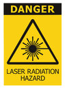 Laser radiation hazard safety danger warning text sign yellow sticker label, high power beam icon signage, isolated black triangle Royalty Free Stock Photo