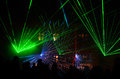 Laser show colorful at night with audience on a place Stock Photo