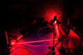 Lasers in a quantum optics lab Royalty Free Stock Images