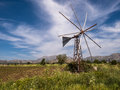 Lasithi plateau in crete greece windmill and agriculture on the Royalty Free Stock Photography
