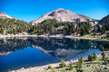 Lassen peak is reflected in a lake Royalty Free Stock Images