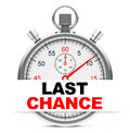 Last chance d generated picture of a stopwatch with sign Royalty Free Stock Photos