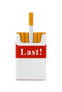 Last cigarette stop smoking concept isolated on white background Royalty Free Stock Image