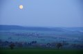 Last moonlight in the morning view long hills franconia bavaria Stock Photos