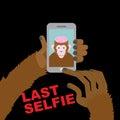 Last selfie before his death. Selfie Monkey with an open skull a