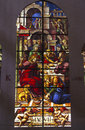 Last supper stained glass image depicting the taken in the cathedral in segovia spain Royalty Free Stock Images