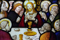 The last supper in stained glass a photo of Stock Photos