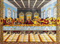 The last supper tapestry depicting of jesus christ Stock Photos