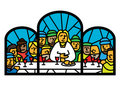 Last supper  window Stock Photos