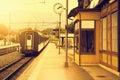 Last train moves away. Royalty Free Stock Photo