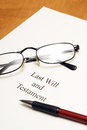 Last will and testament a agreement for the deceased ones final arrangements Royalty Free Stock Image