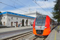 Lastochka high-speed train in Sochi Stock Images