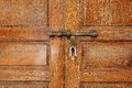 Latch on the door closeup a a wooden Stock Photography