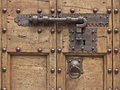 Latch and keyhole on an old door in the mediaval city of gubbio italy Royalty Free Stock Images