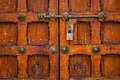 Latch with padlock on door in india Royalty Free Stock Image