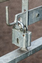 Latches on public gates detail of and locks Royalty Free Stock Photo