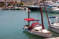 Latchi cyprus greece july assortment of boats in the har harbour at on Stock Photo