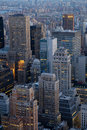 Late afternoon early evening in Manhattan as seen from above Royalty Free Stock Photo