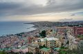 Late afternoon view of naples seaside and hills from sant elmo castle at Stock Photography