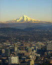 Late light illuminates mt hood portland oregon foreground Royalty Free Stock Image