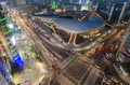 Late night traffic blurs past dongdaemun design plaza seoul city Stock Photos