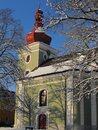 The Late Renaissance Church Of St. Lawrence In Winter, Sec, Eastern Bohemia, Iron Mountains, Zelezne Hory.