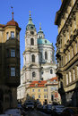 The late Snow in Prague - St. Nicholas' Cathedral Royalty Free Stock Photo