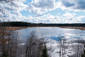 Late spring at lake the afternoon sun reflecting from a with still some ice left in the thaw Royalty Free Stock Photo