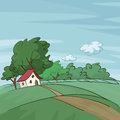 Late summer landscape vector illustration of a Stock Photo