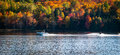 Late summer on a northern Ontario lake - getting in the last session of water skiing. Royalty Free Stock Photo
