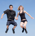 Late teenagers dancing outdoors Stock Images