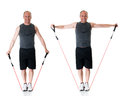 Lateral raise exercise with resistance band studio shot over white Royalty Free Stock Photography