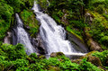Lateral view on a strong waterfall in Triberg, Germany Royalty Free Stock Photo
